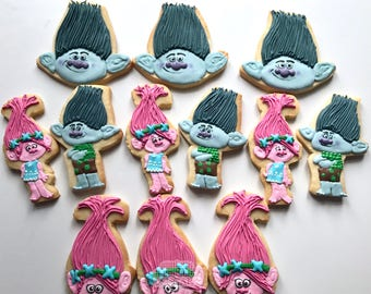Trolls Decorated Cookies - One Dozen Poppy and Branch Trolls Sugar Cookies