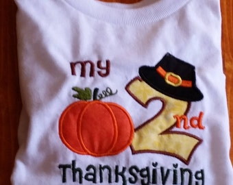 Second Thanksgiving Shirt,2nd Thanksgiving Holiday Shirt Outfit,Baby Boy Girl Toddler Thanksgiving Top,Holiday Photo Shoot Prop Outfit