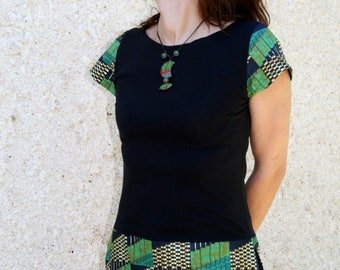 Black and African Nathaflo green tunic