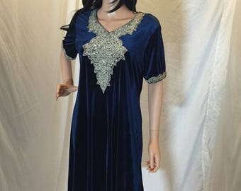 Vintage Midnight Navy Blue Velvet Shift Dress Gown with Embellished Front Beaded Appliqué