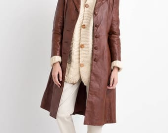 70s Brown Button Down Leather Long Trench Coat Fitted Jacket M