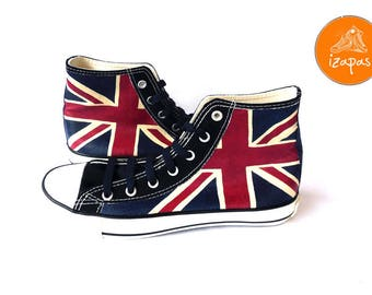 Union Jack Shoes High Top Boots Hand Painted