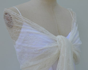 Shawl, stole ecru lace of Calais lace scarf, lace woman, elegant shawl stole bridal wedding chic, ecru burp