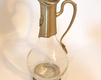 Vintage pewter and glass shaped decanter