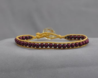 maroon and yellow beaded wrap bracelet