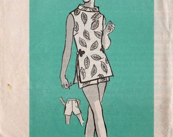 """1960s Top and Shorts Outfit Vintage Shorts Pattern MAIL ORDER 4844 bust 34"""" Standing Collar Sleeveless Top Side Slits Back Zipper Shorts"""