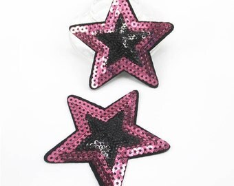 1 Piece - Pink and Black Star Embroidery Patch with Sequins iron on with glue - Approx. 3 inches for Hair bow Center