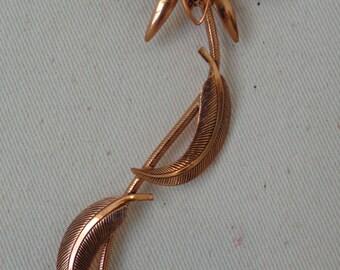 Vintage Copper Flower Brooch, Etched Copper Floral Brooch,  vintage copper flower pin, solid copper