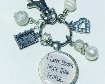 I love books more than people keyring, book lover gift, book keyring, book keychain