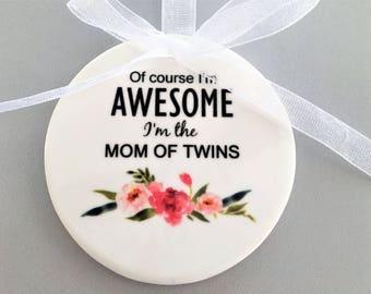 Custom Mom Ornament, Mom of Twins Gift, New Mommy Gift, Gift for New Mom, Best Mom Gift, Mom Christmas Gift, Mom of Twins Ornament