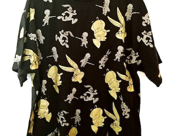 Vintage Looney Tunes T-shirt XL Mens Buggs Bunny Elmer Fudd // Made in USA // Black and Metallic Gold // 100% Cotton