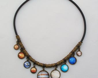 Solar System Necklace, All 9 Planets Necklace, Bib Necklace, Space pendants, Universe jewelry, Galaxy necklace, Solar System nec jewellery