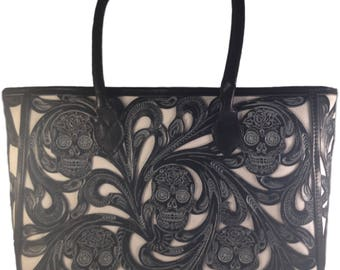 Skull Tote Bag, 100% Leather, Multiple Colors, FREE SHIPPING!