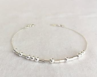 Sterling Silver Morse Code Bracelet, Mother Bracelet, Sister Bracelet, Graduation Gift, Valentine's Gift, Delicate Bracelet, Hidden Message