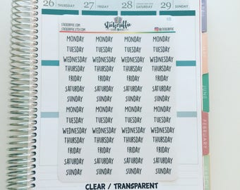 C211  Clear / Transparent Days of the Week Stickers