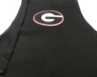 Machine embroidered Georgia Bulldog Apron
