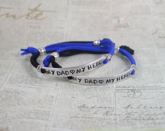 My Dad My Hero Police Fireman Adjustable Hand Stamped Bracelet