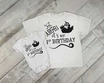 Argh! Its Me 1st Birthday First Birthday Baby Girl Boy Toddler Clothes Rompers Birthday Gift Idea Scull and Crossbones Pirate Hat