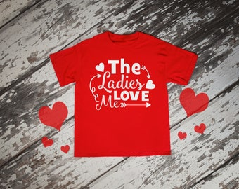 The Ladies Love Me Boys Valentines Red Rabit Skins 2T 3T 4T Shirt Toddler Kid T Shirt Top Tee T-Shirt Funny Cupid