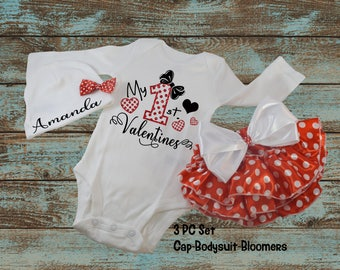 Personalized My First Valentine Name 3 PC Outfit Set For 0-6 Months Cap Bodysuit Baby Ruffle Bloomers Diaper Cover Polka-Dots Red White Girl