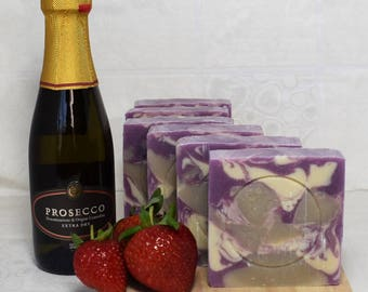 Pink Prosecco & Strawberry Handmade Soap with Shea Butter.