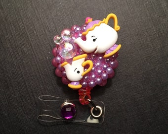 Beauty and the Beast* Chip* & Mrs. Potts* ID Badge, RN Reel, Holder or Pen Holder with Clip for Work, Conventions, Etc.