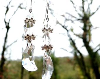Half transparent Swarovski crystal earrings