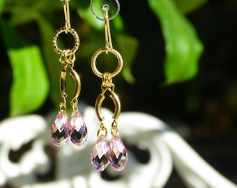 Pink and gold Swarovski Crystal Dangle Earrings