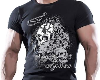 Last Chance Skull. Men's black cotton t-shirt