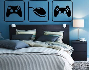 Wall Sticker Decal choose your weapon gamer quote controller video game boys bedroom 1704b