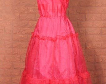 Vintage Dress Gown 80s Retro Victorian Style Evening Wedding Party Prom UK 12...US 8