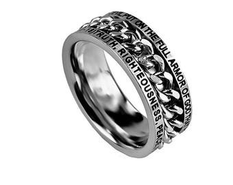 """Chain Ring """"Armor Of God"""""""
