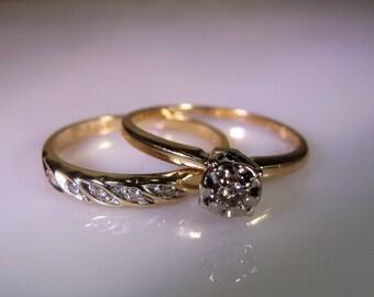 14K Gold Bridal Set, Engagement Ring, Wedding Band, Diamond Engagement Ring & Wedding Band, Wedding Ring Set, Vintage Bridal Set – Size 5.25