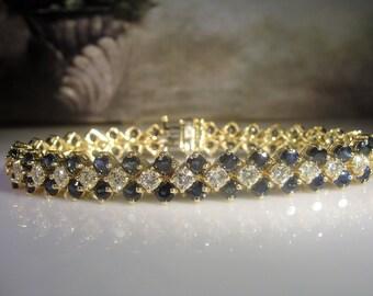 "14K Sapphire and Diamond Bracelet, Tennis Bracelet, Sapphire Bracelet, Diamond Bracelet, Blue Sapphire Bracelet, Vintage Bracelet, 7.25"""