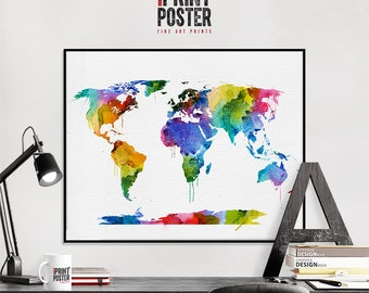 world map travel map world map poster world map print world map wall art, map of the world, large world map, iPrintPoster