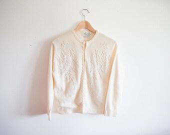 Monrose Vintage 1950s Beaded Angora Rabbit Hair Lambs Wool Blend Cardigan Sweater
