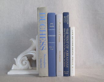 Decorative Book Set in Gray, Blue and Beige, Book Bundle, Home Staging Books, Wedding Centerpiece, Stack of Books, Designer Colors