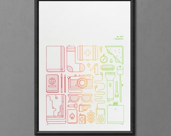 Adventure Art Print - Wanderlust - Gift for traveller - Minimal Outdoors Print - Travel & Camping A2 Screen Print - Father's Day Gift