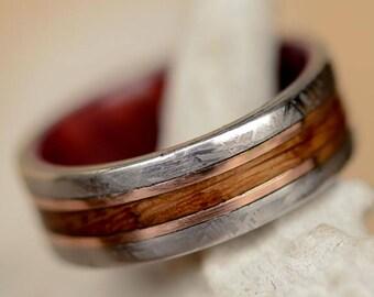 Mens Wedding Engagement Ring Titanium Band With Meteorite Jack Daniels Wood Rose