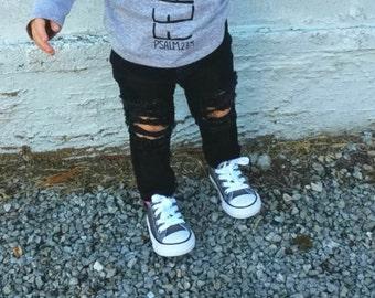 Black distroyed denim children/toddler/baby Jeans