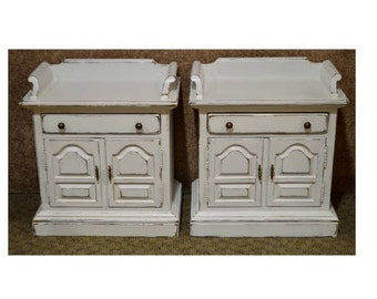 Pair of Ethan Allen Cottage Style Distressed Night Stands