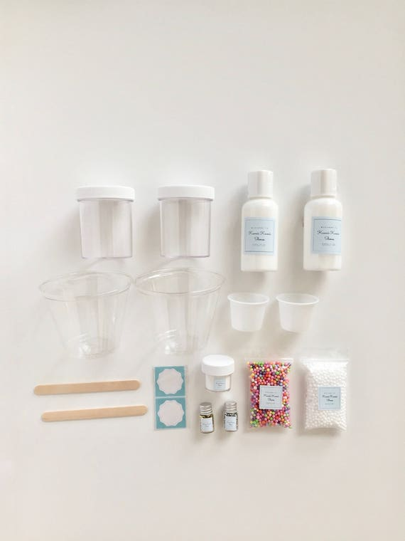 diy slime kit with free gift white foam beads 5