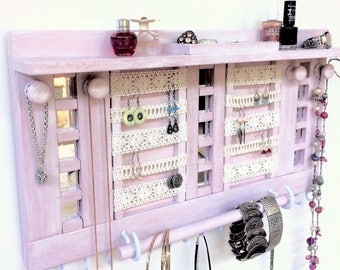 "Wooden jewelry organizer - 20"" with shelf - Ready to ship - Mother's Day - Lace for earrings - Rings & studs box - Mirrors - Jewelry rack"
