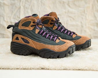 90s Arctic Trail Brown Suede and Purple Lace Up Hiking Boots • 7