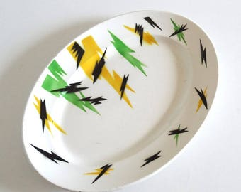 French Vintage 50s Yellow and Green Oval Platter DIGOIN SARREGUEMINES - Mid Century Oval Plate