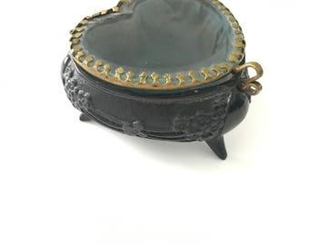 Antique French Beveled Glass Heart Casket Jewelry Trinket Box
