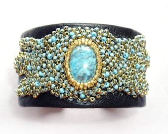 Turquoise bracelet Leather cuff bracelet Woman bracelet Blue gold bracelet Embroidered bracelet Third anniversary gift Gift for wife For her
