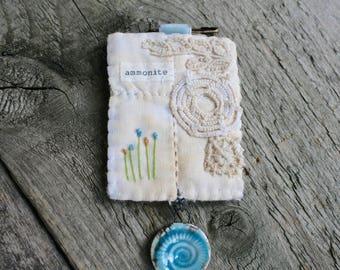Ammonite Brooch, Textile Brooch, Fabric Brooch, Textile Art, Embroidered Brooch, Art Brooch, Lapel Pin, Flower Brooch, Fossil Lover Gift
