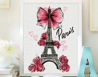 Paris cross stitch pattern. Cross stitch modern pattern ,Eiffel  instant download PDF. Patrón punto de cruz París. Punto de cruz moderno PDF