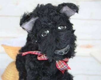 Scottie Dog Teddy Bear - Artist bear - black highland terrier